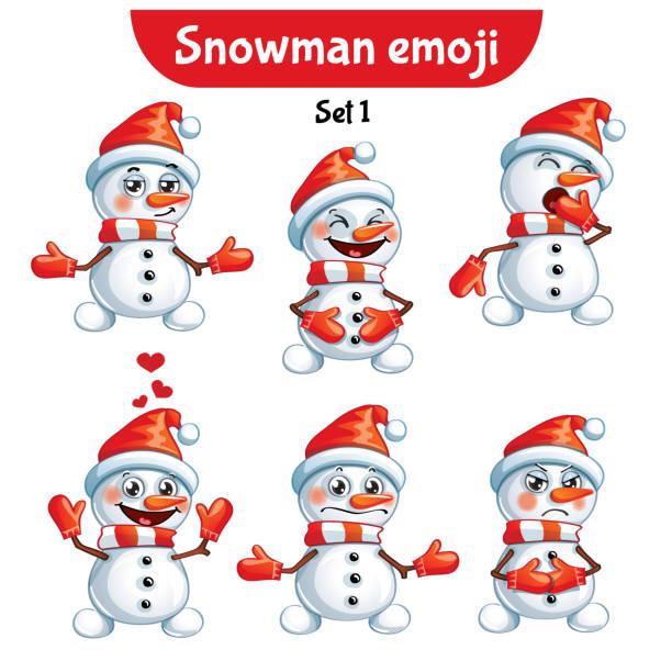vector set of cute snowman characters. set 1 - jealous emoji stock illustrations, clip art, cartoons, & icons