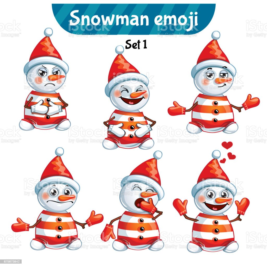 Vector set of cute snowman characters. Set 1 vector art illustration