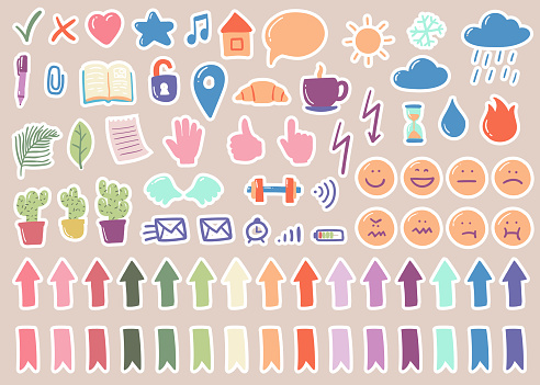 Vector set of cute stickers for planner in cartoon style