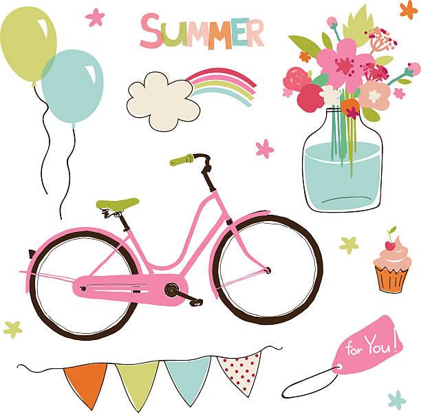 Vector set of cute summer party elements. vector art illustration