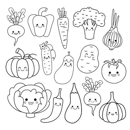 Vector set of cute vegetables.