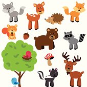 Vector Set of Cute Woodland and Forest Animals. No transparencies or gradients used. Large JPG included. Each element is individually grouped for easy editing.