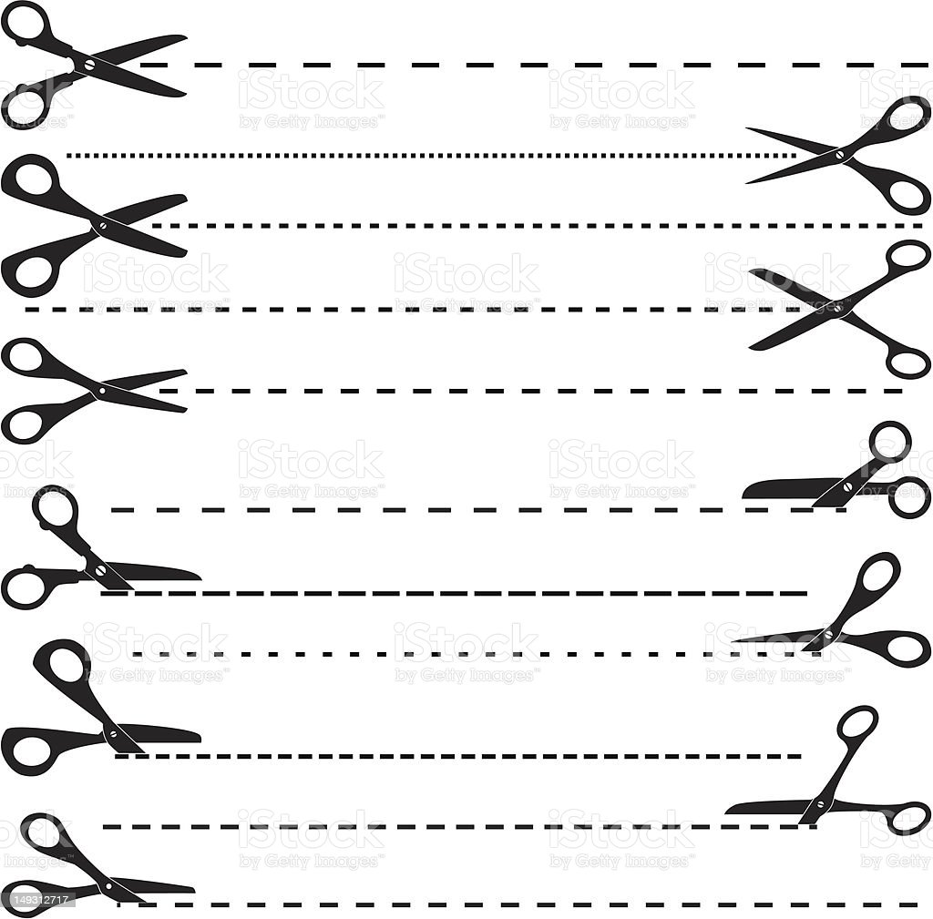 vector set of cutting scissors royalty-free vector set of cutting scissors stock vector art & more images of black color