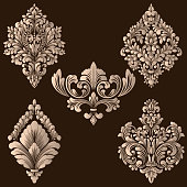 Vector set of damask ornamental elements. Elegant floral abstract elements for design. Perfect for invitations, cards etc