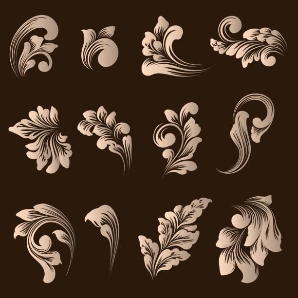 錦緞觀賞元素的向量集。優雅的花卉抽象元素的設計。適合邀請, 卡片等。 - 鄉愁 幅插畫檔、美工圖案、卡通及圖標
