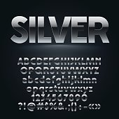 Vector set of dark silver letters, numbers and symbols