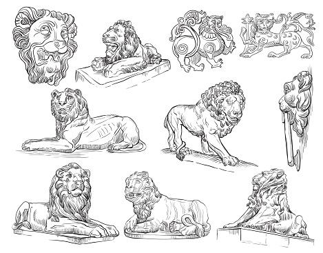 Vector set of decorative architectural elements stone lions