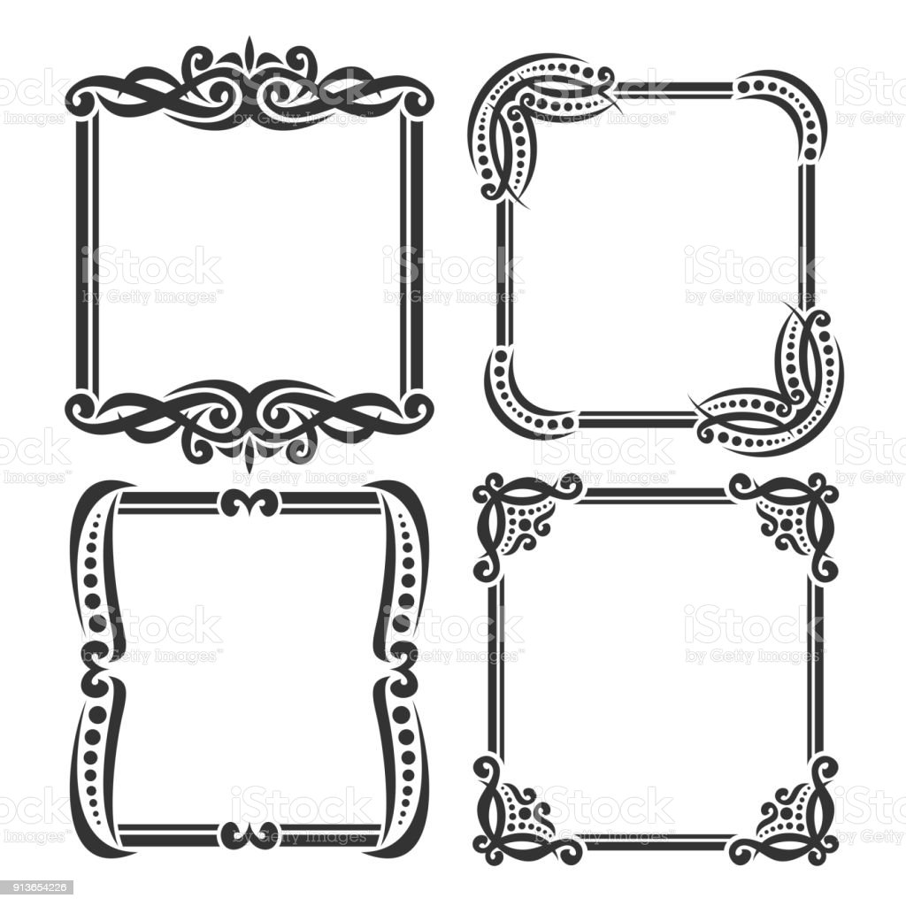 Vector set of decorative black frames on white stock vector art vector set of decorative black frames on white royalty free vector set of decorative black jeuxipadfo Gallery