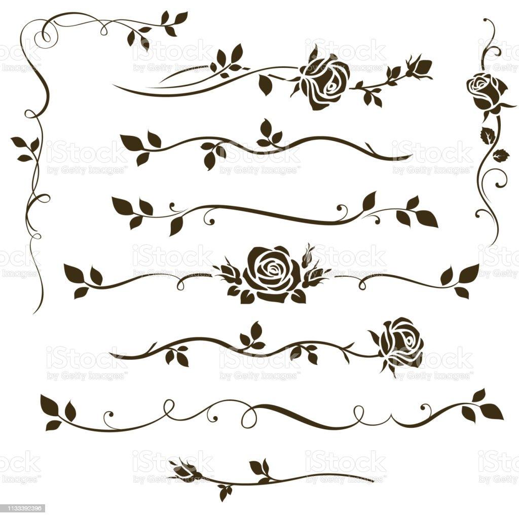 장식 붓글씨 요소, 꽃 칸막이, 결혼식 초대장 디자인 및 페이지 장식에 대 한 장미 실루엣과 나뭇잎 장식품의 벡터 집합입니다. - 로열티 프리 0명 벡터 아트