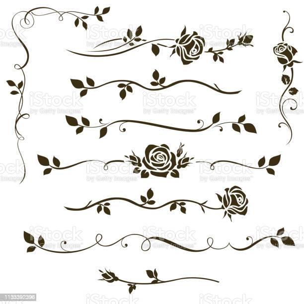 장식 붓글씨 요소 꽃 칸막이 결혼식 초대장 디자인 및 페이지 장식에 대 한 장미 실루엣과 나뭇잎 장식품의 벡터 집합입니다 0명에 대한 스톡 벡터 아트 및 기타 이미지