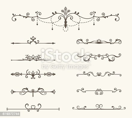 Vector set of decorative elements, border and page rules frame