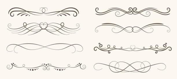vektor-satz der dekorativen elemente, rahmen und linie vintage-stil - gartenskulpturkunst stock-grafiken, -clipart, -cartoons und -symbole