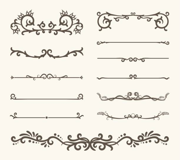 Vector set of decorative elements,  frame and line vintage style Vector set of decorative elements,  frame and line vintage style geographical border stock illustrations