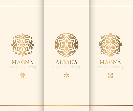 Vector set of decorative emblem. Elegant, classic elements. Can be used for jewelry, beauty and fashion industry. Great for logo, invitation, flyer, menu, background, or any desired idea.