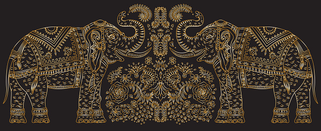 Vector set of decorative fantasy ornate Indian elephant with tropical leaves and flowers. Golden contour thin line, ethnic ornaments on a black background. T-shirt print. Batik paint, brochure cover