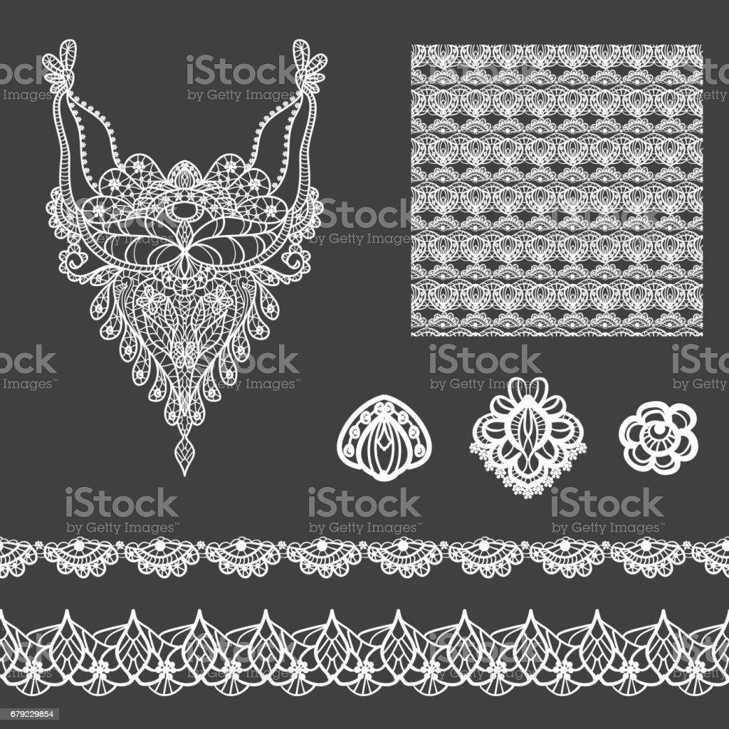 Vector Set Of Decorative Lace Elements For Design And Fashion In