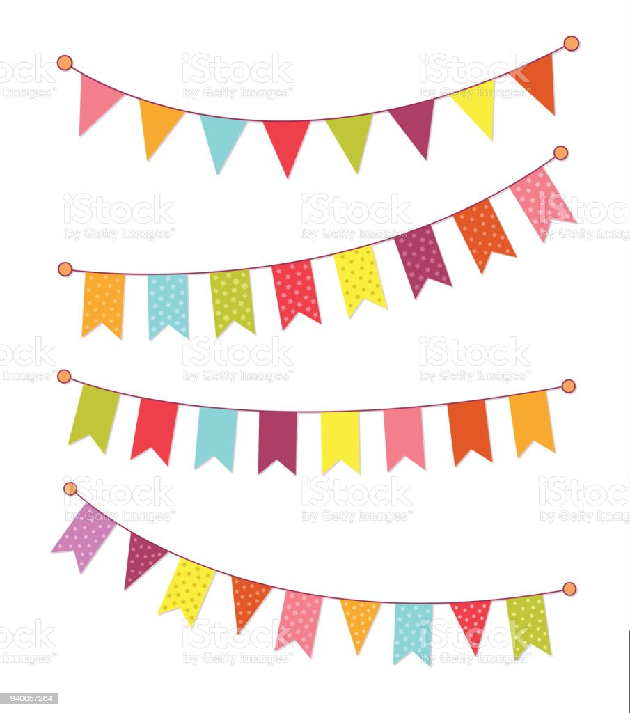 Vector Set Of Decorative Party Pennants With Different