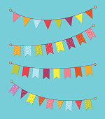 Vector set of decorative party pennants with different sizes and lengths. Celebrate flags. Rainbow garland. Birthday decoration. Hanging colored flags. Vector graphic illustration, EPS10.
