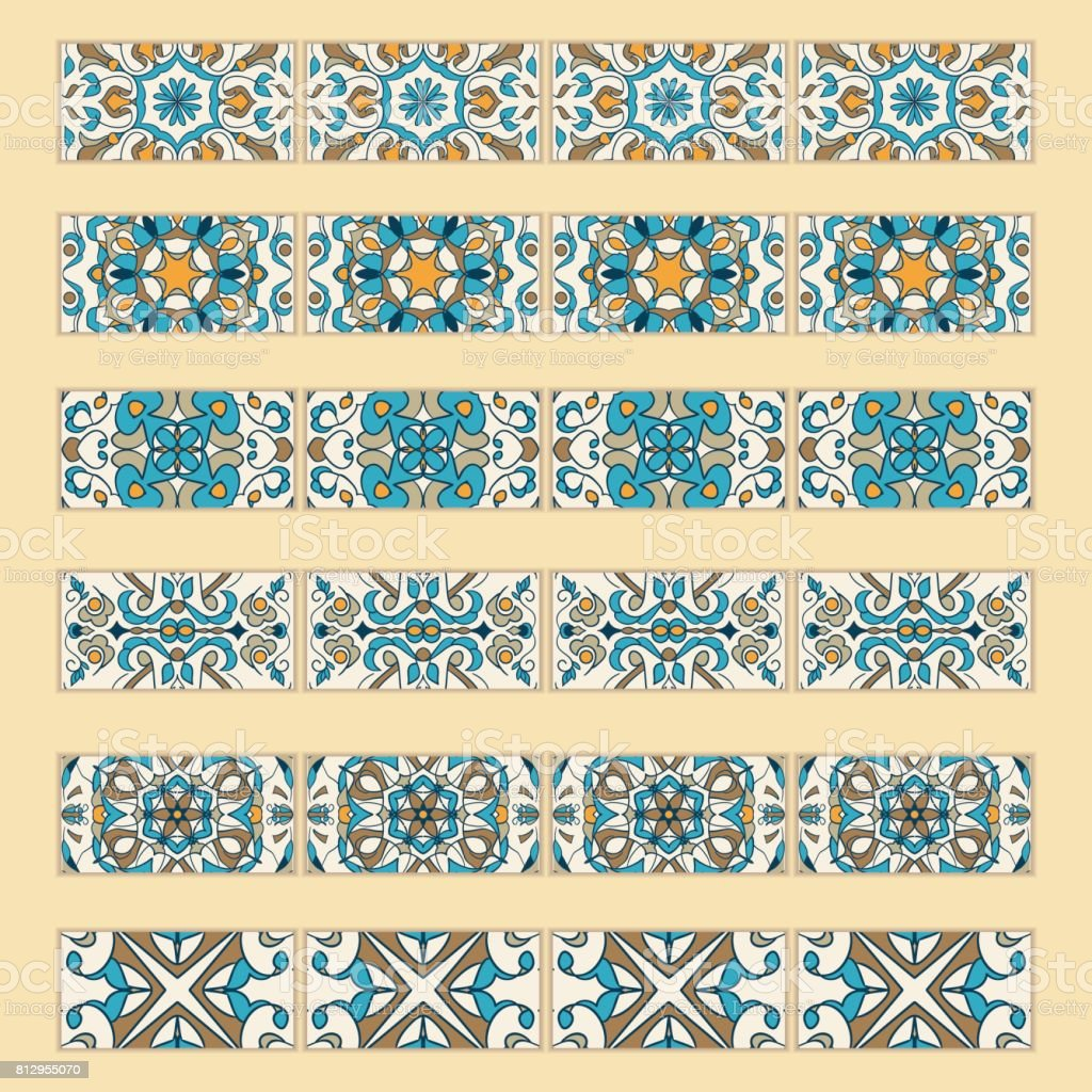 Vector set of decorative tile borders. Collection of colored patterns for design and fashion vector art illustration