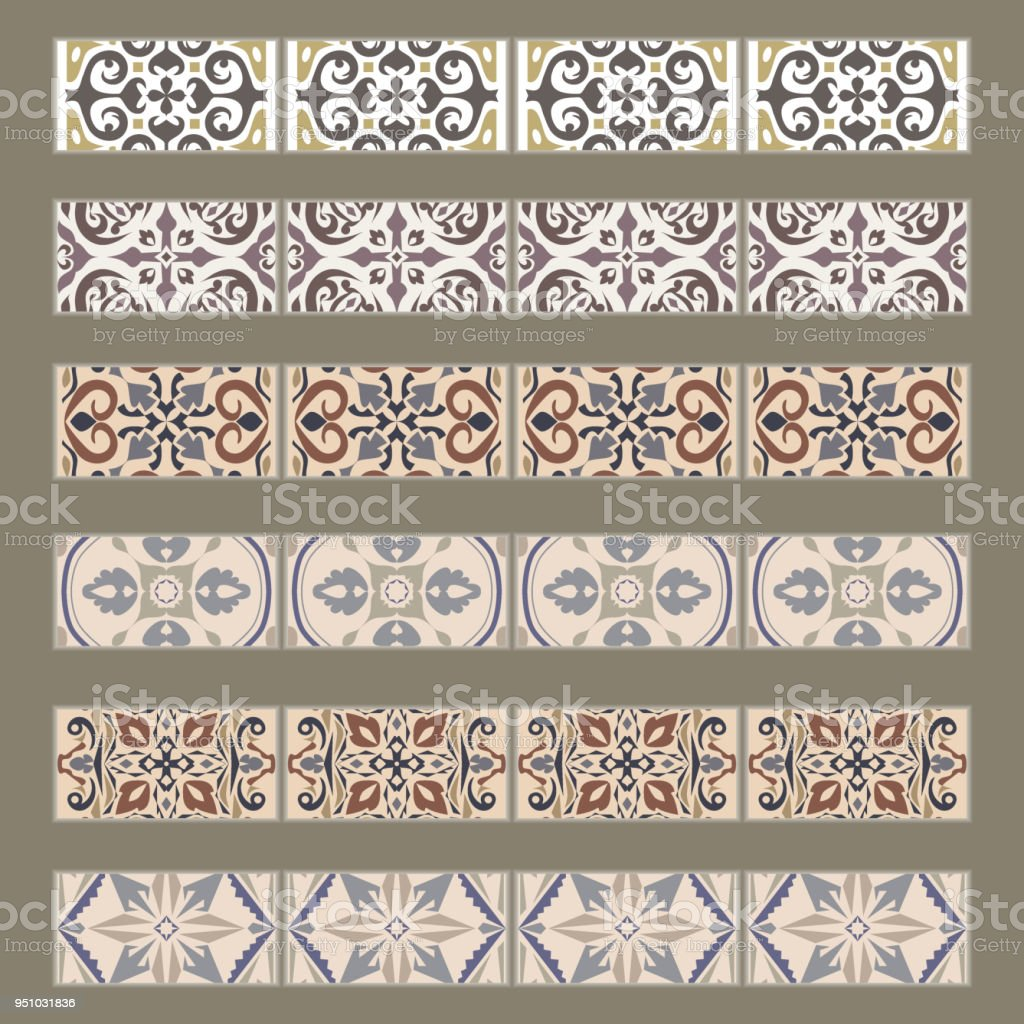 Vector Set Of Decorative Tile Borders Collection Of Ornaments For