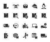 Vector set of delivery flat icons. Contains icons contactless delivery, online order, food delivery, courier, fast delivery, drone delivery and more.