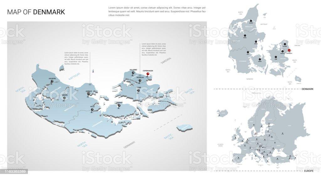 Vector Set Of Denmark Country Isometric 3d Map Denmark Map ...