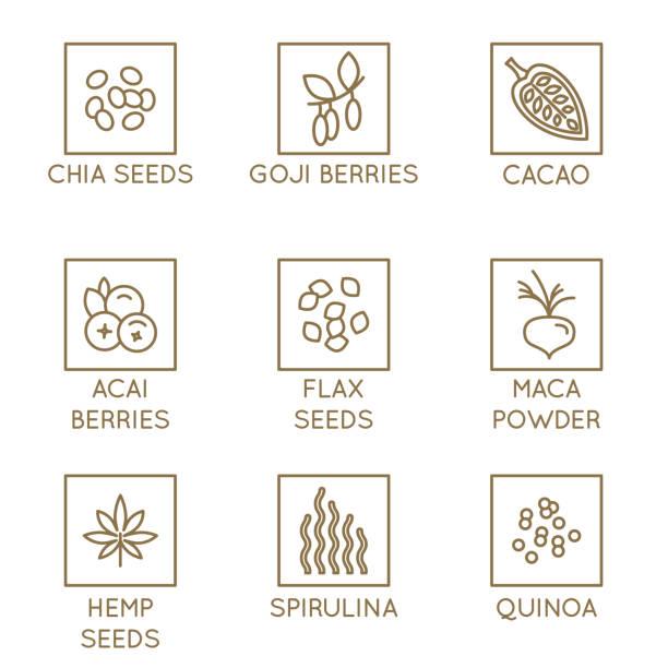 illustrations, cliparts, dessins animés et icônes de vecteur défini d'éléments graphiques et icônes pour l'alimentation et smotthie emballage - badges super - antioxydant