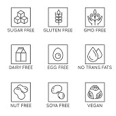 Vector set of design elements and icons for healthy food packaging without allergens - sugar, gluten, gmo, dairy and egg free, no trans fats, vegan