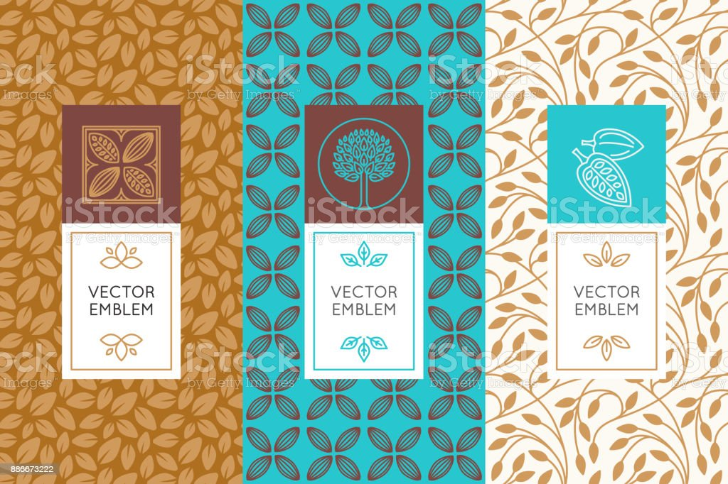 Vector set of design elements and seamless patterns for chocolate vector art illustration