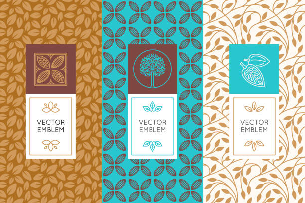 Vector set of design elements and seamless patterns for chocolate Vector set of design elements and seamless patterns for chocolate and cocoa packaging - labels and backgrounds candy patterns stock illustrations