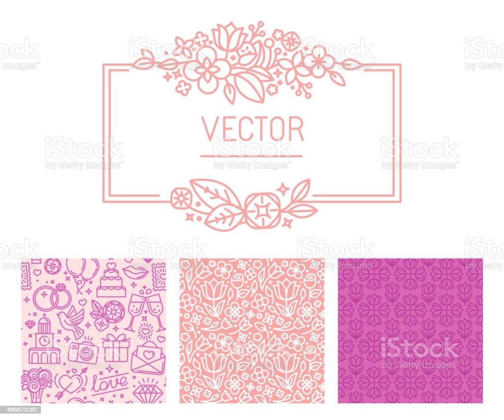 Vektorset Designelemente Und Vorlagen Fur Hochzeitskarten Und