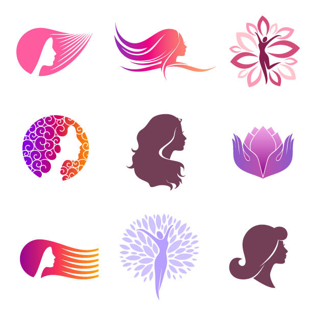 Vector set of design elements for beauty salon Vector set of design elements for beauty salon beautiful woman stock illustrations