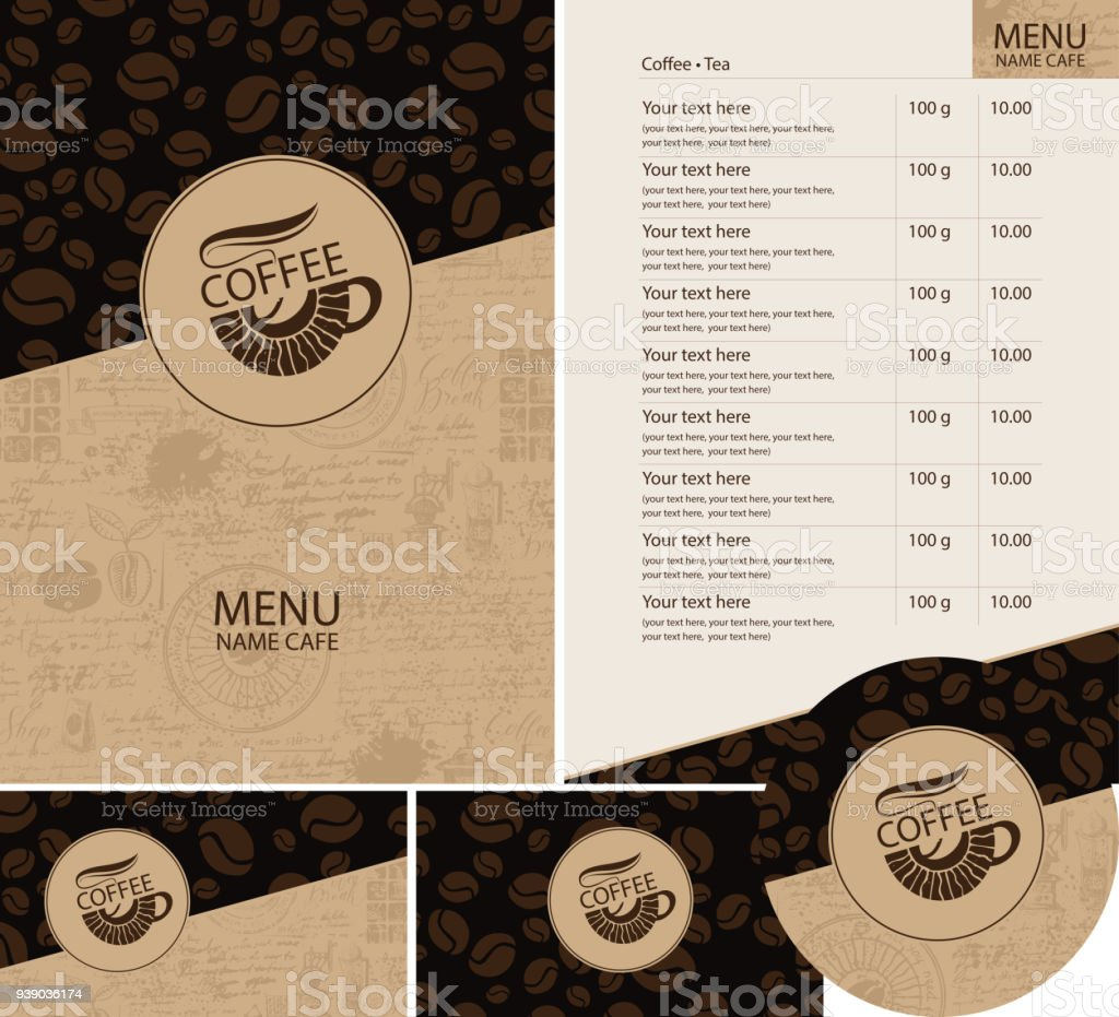 Vector set of design elements for coffee house vector art illustration