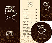 Vector set of design elements for coffee house. Corporate identity for the cafe menu, business cards and coasters for drinks with inscriptions and cup of coffee on background with coffee beans pattern