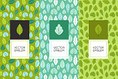 Vector set of design elements for packaging and seamless patterns with green leaves - backgrounds and templates for organic and natural cosmetics and hand made products