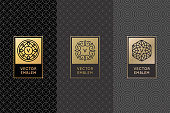 Vector set of design elements, labels and frames for packaging for luxury products in trendy linear style - simple and bright background made with golden foil on black background with copy space for text or symbol
