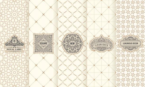 stockillustraties, clipart, cartoons en iconen met vector set ontwerp elementen etiketten, pictogram, frame, luxe verpakking voor het product - oost
