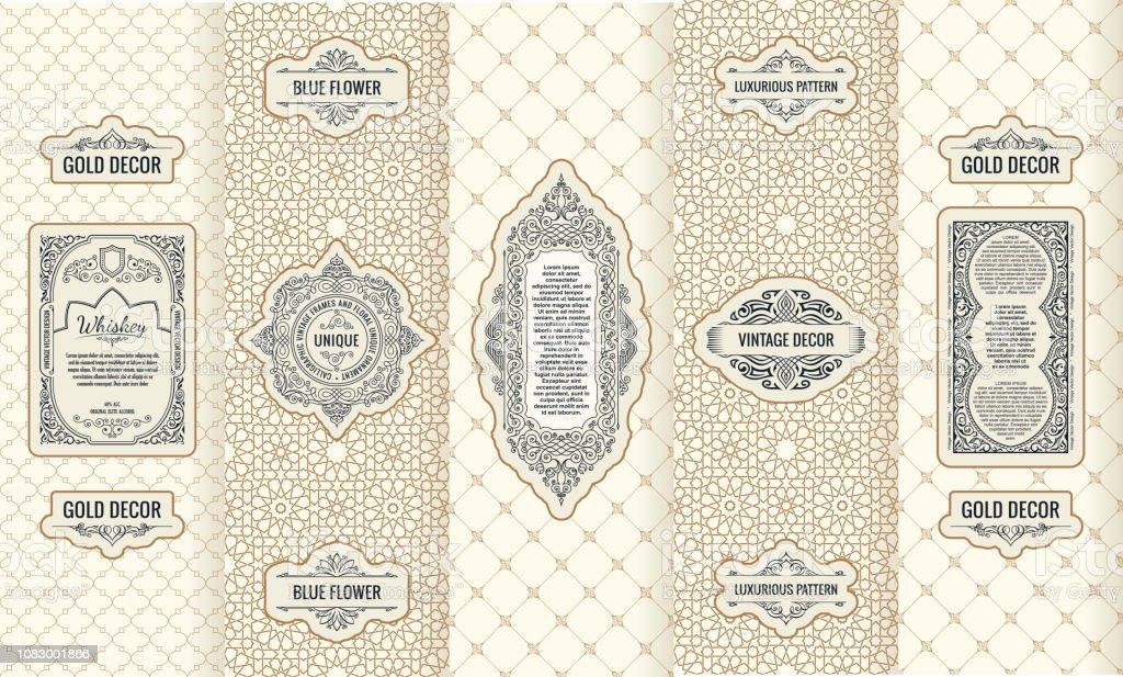 デザイン要素のラベル、アイコン、フレーム、高級製品の包装のベクトルを設定 ロイヤリティフリーデザイン要素のラベルアイコンフレーム高級製品の包装のベクトルを設定 - アラビア風のベクターアート素材や画像を多数ご用意