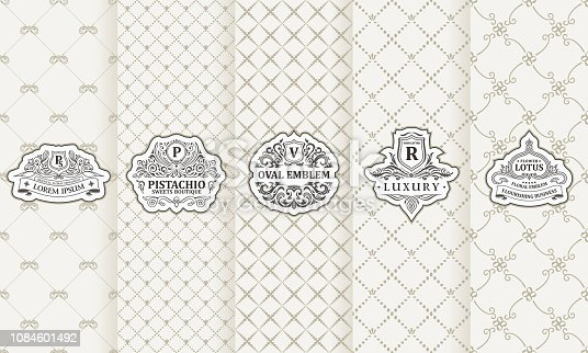 Vector set of design elements labels, icon, frame, luxury packaging for the product. Vertical white cards on seamless background. Templates vintage ornament
