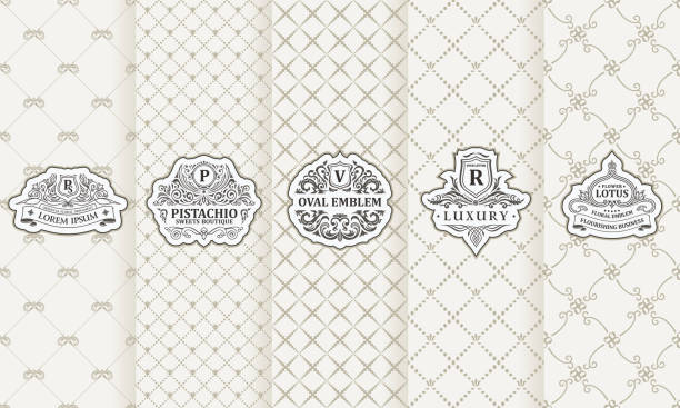 vector set of design elements labels, icon, frame, luxury packaging for the product - floral and decorative background stock illustrations