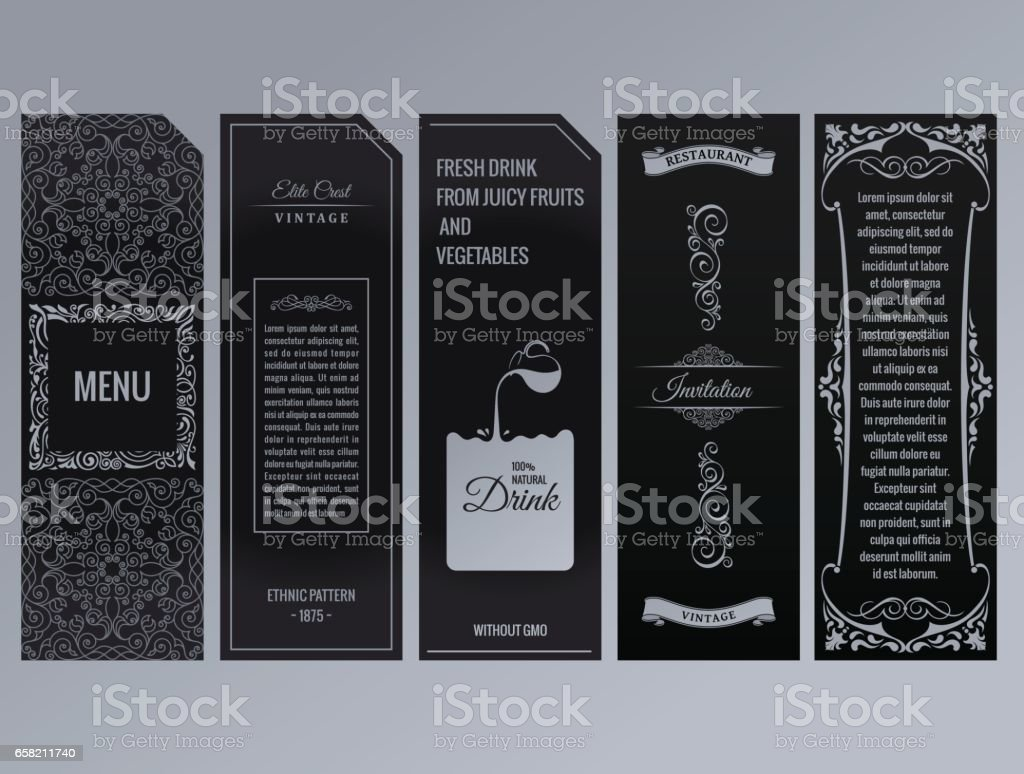 Vector set of design elements labels, icon, , frame, luxury packaging for the product vector art illustration