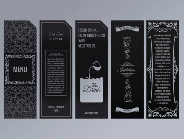 vektor-set design-elemente-etiketten, symbol, frame, luxus verpackung für das produkt - weinkarte stock-grafiken, -clipart, -cartoons und -symbole