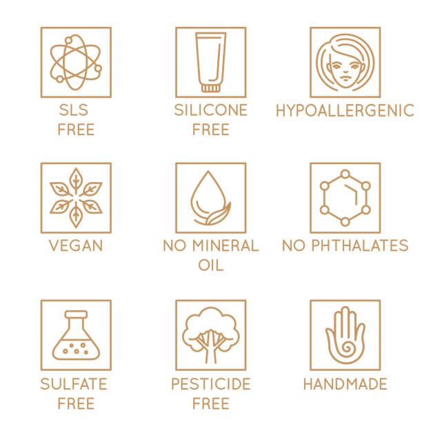 illustrazioni stock, clip art, cartoni animati e icone di tendenza di vector set of design elements, logo design template, icons and badges for natural and organic cosmetics in trendy linear style - silicone