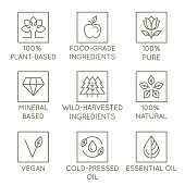 Vector set of design elements, logo design template, icons and badges for natural and organic cosmetics in trendy linear style - plant-based, food-grade and wild harvested ingredients, pure, mineral-based, vegan, essential oil