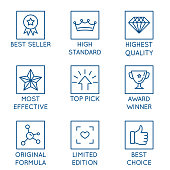 Vector set of design elements, logo design template, icons and badges for packaging and best products