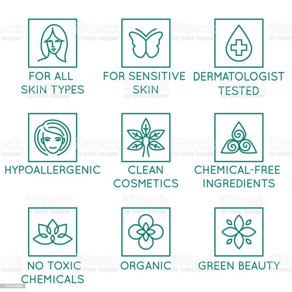Vektor-Set Design-Elemente, Logo-Design-Vorlage, Symbole und Abzeichen für Natur- und Biokosmetik in trendigen linearen Stil – Vektorgrafik