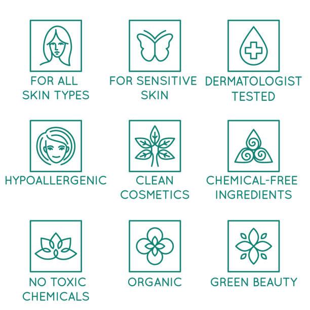 ilustraciones, imágenes clip art, dibujos animados e iconos de stock de conjunto de vector de elementos de diseño, plantilla de diseño de logotipo, iconos e insignias para los cosméticos naturales y orgánicos en estilo moderno - dermatología