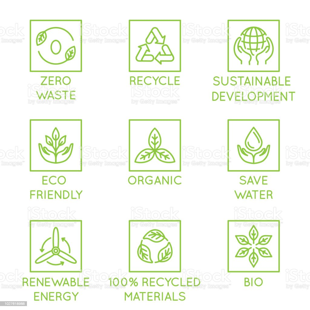 Vector set of design elements, logo design template, icons and badges for natural and organic ecological products  in trendy linear style vector art illustration