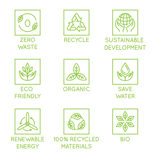 Vector set of design elements, logo design template, icons and badges for natural and organic ecological products  in trendy linear style Vector set of design elements, logo design template, icons and badges for natural and organic ecological products  in trendy linear style - zero waste, recycle, sustainable, development, eco friendly, organic, save water, renewable energy environmental issues stock illustrations