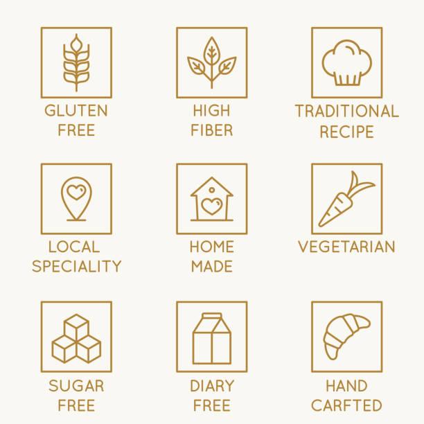 ilustraciones, imágenes clip art, dibujos animados e iconos de stock de vector conjunto de elementos de diseño, plantilla de diseño de logotipo, iconos y escudos para panadería orgánica productos alimenticios saludables moda estilo en - fibra